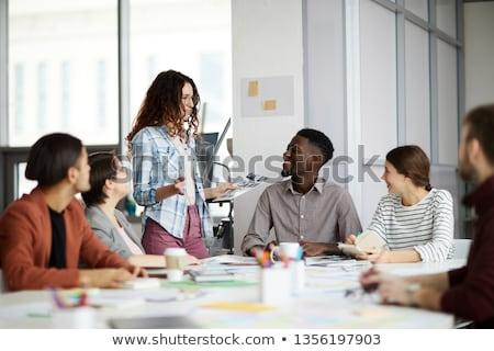 dwa · biznesmenów · przedsiębiorców · działalności · spotkanie · pióro - zdjęcia stock © ambro