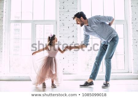 父 娘 実例 ジャンプ 3D ベクトル ストックフォト © vectomart