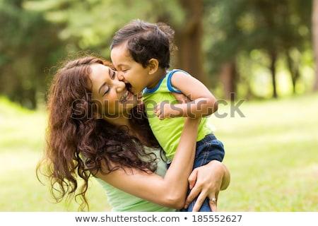 Stock fotó: Indiai · anya · baba · mosolyog · boldog · játszik
