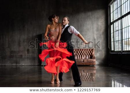 танго таинственный Lady красный маске готовый Сток-фото © dolgachov