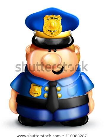 lunatique · cartoon · policier · bleu · police · cute - photo stock © komodoempire