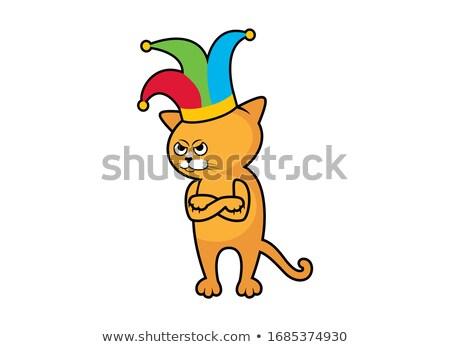 Stockfoto: Knorrig · clown · cartoon · ernstig · kwaad · mannelijke
