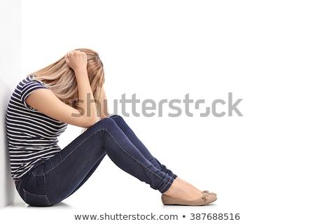 Eenzaam meisje huilen witte hand oog Stockfoto © wavebreak_media