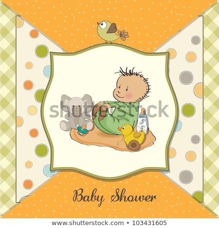 bebê · chuveiro · cartão · engraçado · elefante · pequeno - foto stock © balasoiu