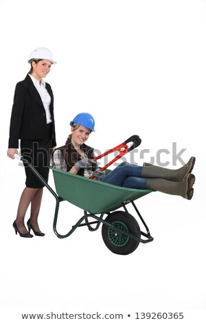 A professional woman pushing a blue collar worker in a wheelbarrow Stock photo © photography33