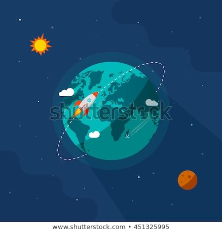 rocket on orbit around earth globe Stock photo © 4designersart