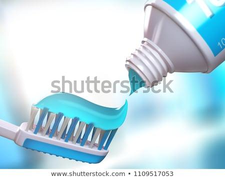 Tooth paste on brush, close up Stock photo © stevanovicigor