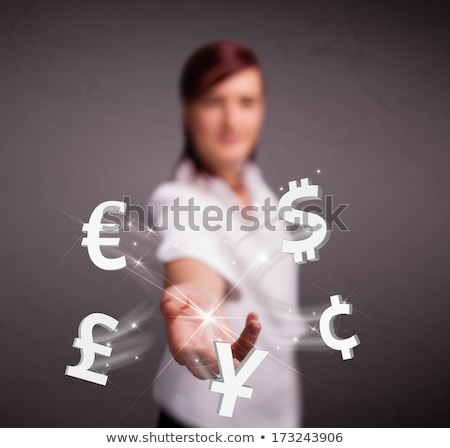 Investment concept. Pretty business woman with currency symbols. Stock photo © HASLOO