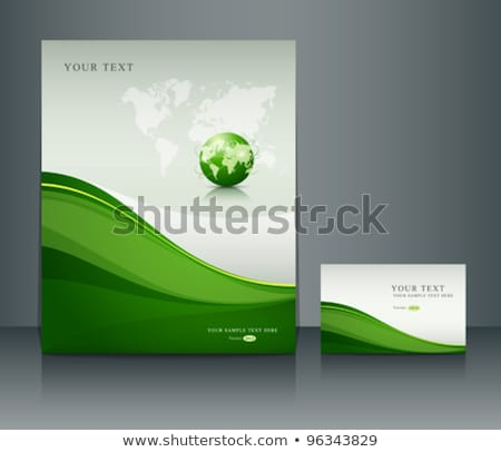 Abstract Wave Background With Globe Stock fotó © Sarunyu_foto