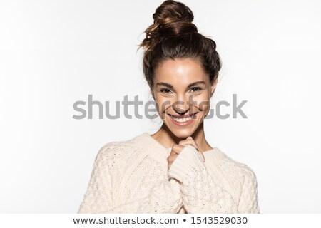 Portret jonge vrouw warm kleding glimlach Stockfoto © photography33