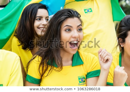 Brazil girl soccer fan Stock photo © orensila