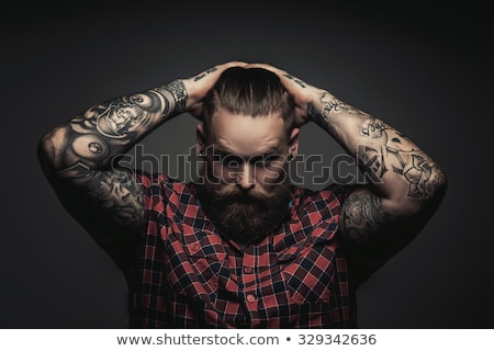 Twardy człowiek stylizowany retro portret sepia Zdjęcia stock © curaphotography