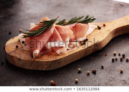 fatia · secar · presunto · rosa · fundo · cozinha - foto stock © marcelozippo