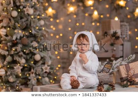 statuetka · malarstwo · dziewczyna · ilustracja · królik · młodych - zdjęcia stock © orensila