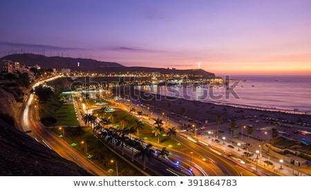 Lima Peru panoramik plaj gün batımı görmek Stok fotoğraf © pxhidalgo