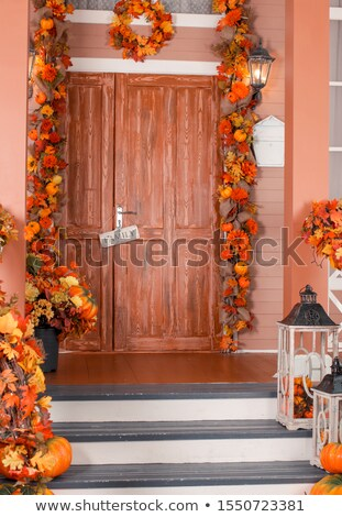 Front door decorated to halloween Stock photo © Catuncia