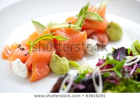 norueguês · salmão · prato · água · comida · peixe - foto stock © artlens