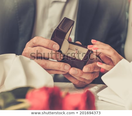 red rose and diamond ring in a box  Stock photo © juniart