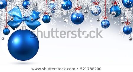 piros · kék · karácsony · golyók · íjak · fehér - stock fotó © tetkoren