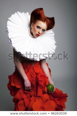 bastante · menina · rainha · isolado · branco - foto stock © elnur