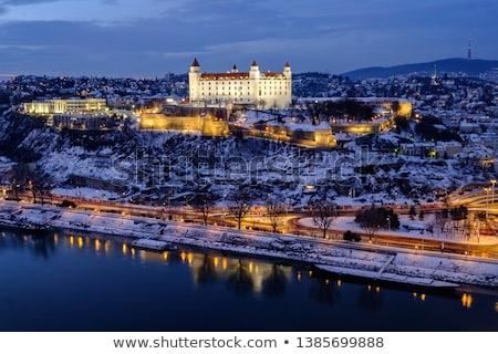 Foto stock: Bratislava · castelo · noite · reflexão · danúbio · rio