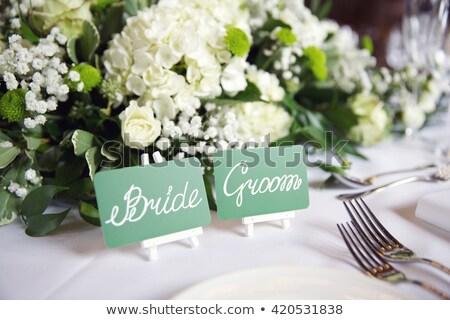 plaats · bruid · bruidegom · receptie · bloem - stockfoto © kmwphotography