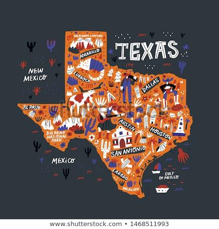 karikatür · Teksas · örnek · gülen · mutlu · grafik - stok fotoğraf © blamb