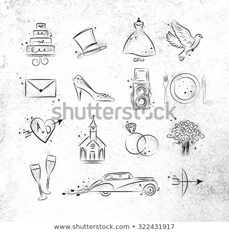 wedding icons and frame vector set stock photo © nicoletaionescu