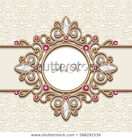 background  round frame with the ornament of precious stones Stock photo © yurkina