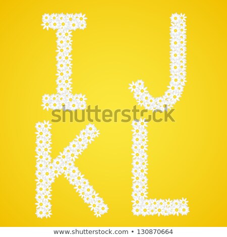 Letters IJKL composed from daisy flowers. Complete alphabet in the gallery. Stock photo © liliwhite
