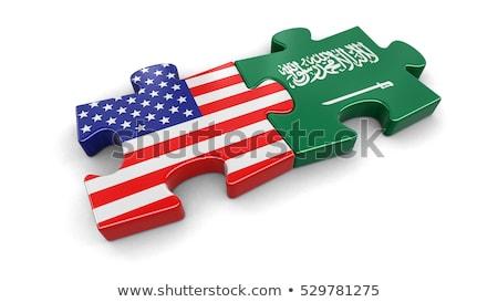 サウジアラビア · フラグ · パズル · 孤立した · 白 · ビジネス - ストックフォト © istanbul2009