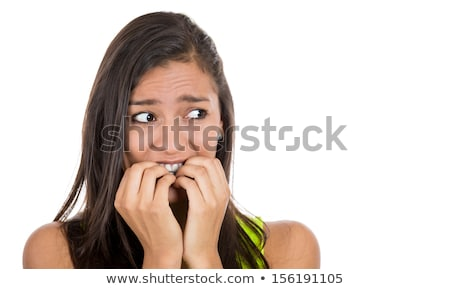 Indian young woman scared with head in hands Stock photo © bmonteny
