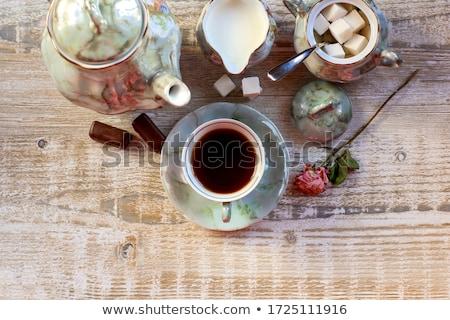 kahve · fincanları · ahşap · mutfak · masası · üst · görmek · bo - stok fotoğraf © feelphotoart