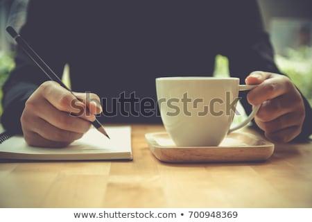 Kahve dikkat beyaz kahve fincanları eski müzik Stok fotoğraf © Karaidel