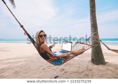 mulher · trabalhando · laptop · praia · computador · mulheres - foto stock © deandrobot