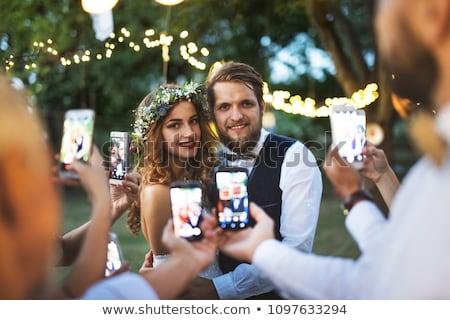 yeni · evliler · gelin · damat · afiş · uzun - stok fotoğraf © vectorikart