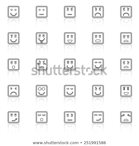 blanc · noir · grincheux · cartoon · drôle · de · visage · tristesse · isolé - photo stock © punsayaporn
