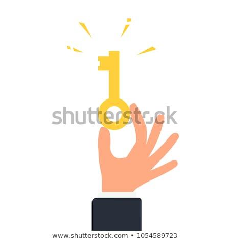 Stock photo: Key Sign golden Vector Icon Design