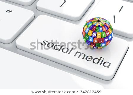 medios · de · comunicación · social · botones · teclado · como · facebook - foto stock © tashatuvango