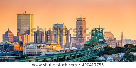 Stock photo: Boston Zakim bridge sunset in Massachusetts