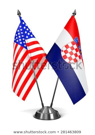 USA Croatie miniature drapeaux isolé blanche Photo stock © tashatuvango