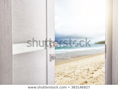 porta · praia · abrir · a · porta · céu · água · parede - foto stock © denisgo
