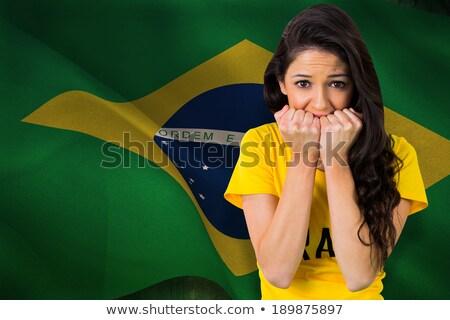 bastante · fútbol · ventilador · brasil · camiseta · blanco - foto stock © wavebreak_media