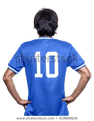Futballista kék rúg fehér sport futball Stock fotó © wavebreak_media