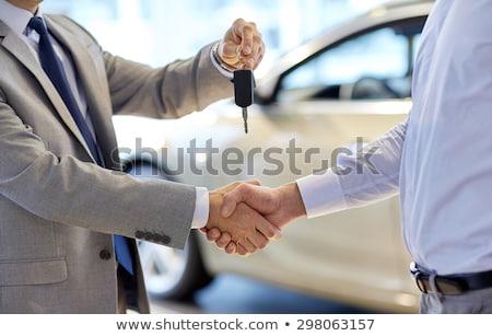 Photo stock: Vendeur · client · clés · de · voiture · nouvelle · voiture · salle · d'exposition
