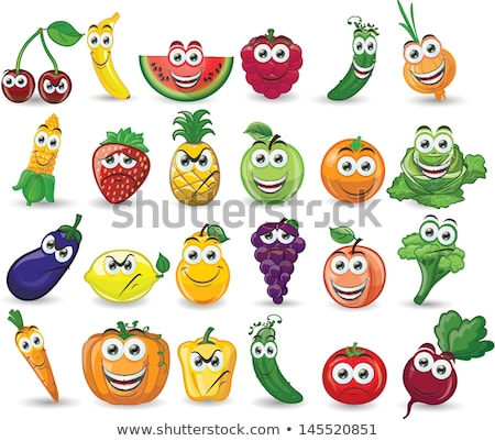 funny cartoon fruits and vegetables with different emotions stock photo © voysla