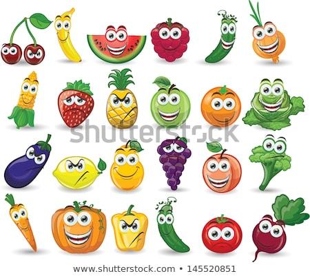 面白い 漫画 果物 野菜 異なる 喜怒哀楽 ストックフォト © Voysla