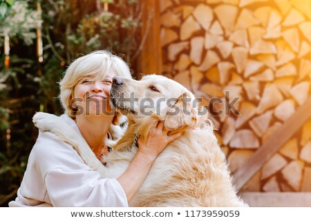 smiling blonde woman petting her golden retriever stock photo © wavebreak_media
