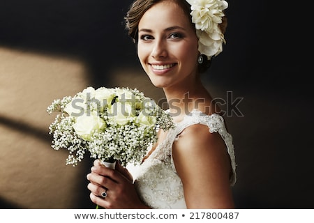 close portrait of happy smiling bride stock photo © bezikus