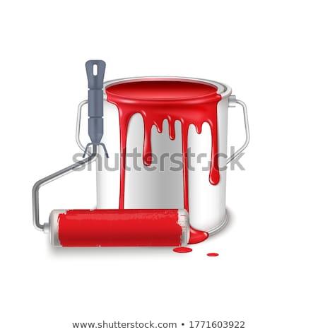 Nyitva konzervdoboz konzerv piros ecset izolált Stock fotó © tetkoren